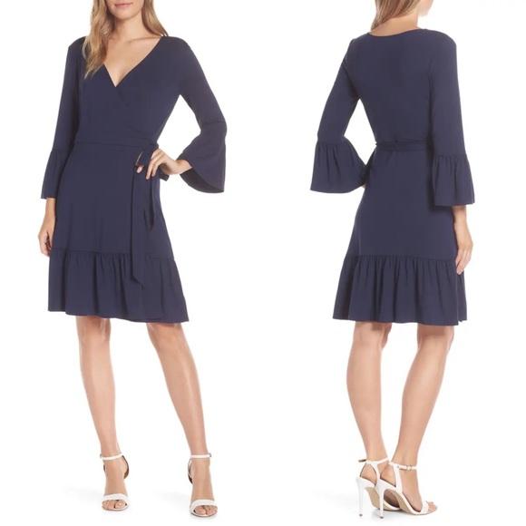 LILLY PULITZER Misha Wrap Dress Blue Size XXS NEW